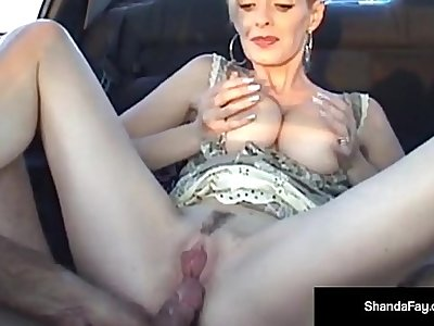 Canadian Cougar Shanda Fay Gets a Load On Her Ass In Car!