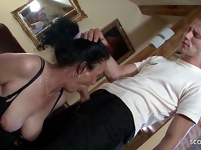 Hairy Grandma Found Porn of Young Boy and let him Fuck Anal