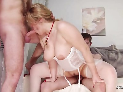 Step Son and Friend Catch Mom Masturbate and Fuck her Anal