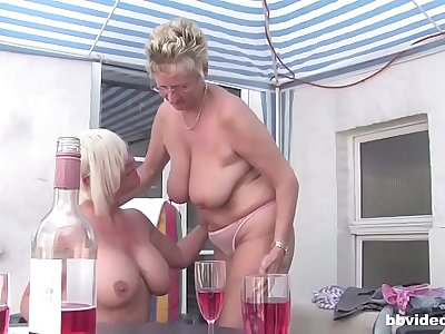 German mature lesbians having an outdoor orgy