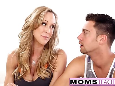 MomsTeachSex - Hot Yoga Mom Fucks Son And Teen GF