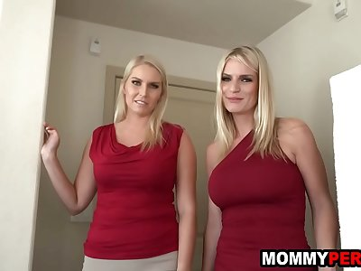 Mom and her milf friend fuck step son in a threesome
